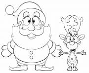 Printable xmas santa reindeer s647e coloring pages