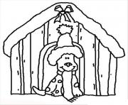 Printable dog in christmas housie e66b coloring pages