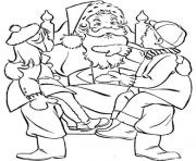 Printable kids and santa claus s265c coloring pages