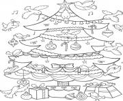 Printable birds decorating christmas tree d806 coloring pages