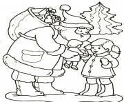 santa gives a girl beautiful doll christmas 3557 coloring pages