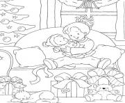 printable s christmas kid and her presentsc9ad coloring pages