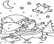 Printable santa claus in the night in christmas s for kids080e coloring pages