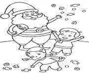 free s christmas santa and kids3e4b coloring pages
