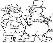 Printable snowman and santa 8493 coloring pages