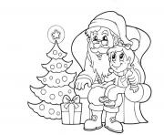 Printable santa and kid christmas e1f7 coloring pages