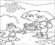 happy birthday s dora give gift for boots8aa2 coloring pages