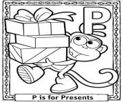 Printable dora cartoon present free alphabet s075e coloring pages