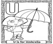 Printable dora cartoon alphabet s free umbrella2b65 coloring pages
