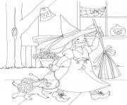 Print cute girl in witch costume halloween s printable free5914 coloring pages