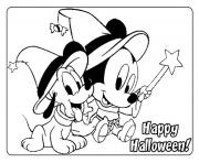 baby mickey and pluto in halloween disney s376e coloring pages
