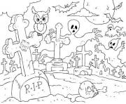 Print spooky graveyard halloween s free948a coloring pages