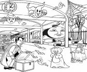 kids thomas the train halloween sa494 coloring pages