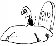 rip graveyard halloween f186 coloring pages