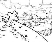 Print scary graveyard halloween e256 coloring pages