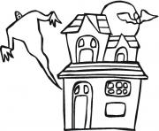 Print ghost and haunted house halloween s freea886 coloring pages