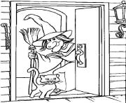 simple witch and cat halloween s kids freedd97 coloring pages