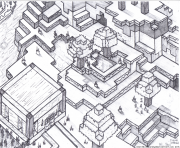 Printable Minecraft world for free coloring pages