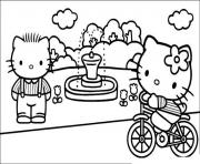 Printable hello kitty in a park e34c coloring pages