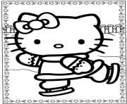 Printable skating hello kitty coloring pagee1d2 coloring pages