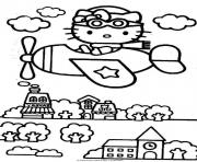 Printable hello kitty flying on a city 0528 coloring pages