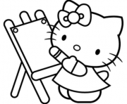 Printable hello kitty learning how to pain b782 coloring pages