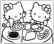Printable hello kitty having breakfast c651 coloring pages