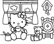 Print hello kitty having tea f853 coloring pages