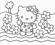 Printable hello kitty with flowers 85d0 coloring pages