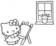 Printable hello kitty painting free be53 coloring pages