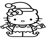 Printable hello kitty christmas elf s55fd coloring pages