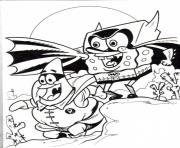 spongebob and patrick as heroes coloring page7004 coloring pages