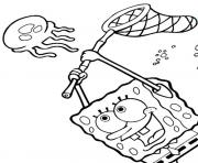 spongebob catching jellyfish s4c7c coloring pages