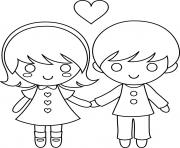 Printable kids couple valentine 6277 coloring pages