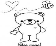 Printable valentine  bee minef54d coloring pages