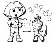 Printable dora and boots valentine s0624 coloring pages