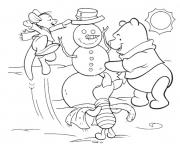 winnie and friends making a snowman free winter s0442 coloring pages