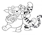 tiger piglet and pooh hugging each other pagef186 coloring pages