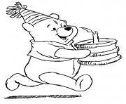 pooh and a birthday cake pages4d6b coloring pages