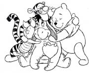 Printable pooh and friends hugging each other23a1 coloring pages