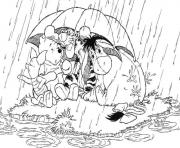 pooh and friends under an umbrella page947d coloring pages