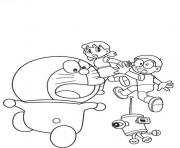 doraemon chased by robot ab7a coloring pages