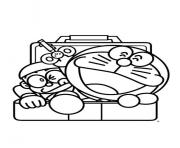 nobita and doraemon comes out from locker 0643 coloring pages