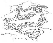 Printable doraemon flies with fan 1d86 coloring pages