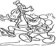 Printable mickey and goofy walking disney f737 coloring pages
