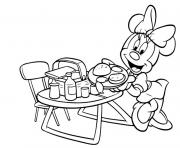 Printable minnie preparing picnic disney a67d coloring pages