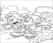 mickey and minnie on roller skate disney c61b coloring pages