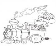 Printable mickey on train disney 4de1 coloring pages