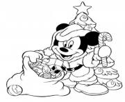 Printable mickey wore santas costume in christmas s printable0227 coloring pages
