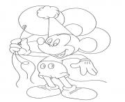 Printable mickey holds balloons disney 899f coloring pages